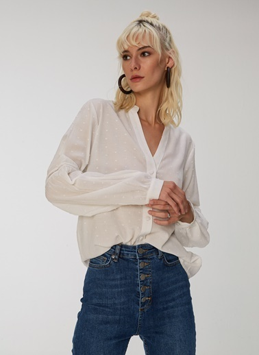People By Fabrika Şerit Detaylı Gömlek Beyaz